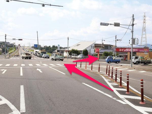 太良・諫早方面から来た場合の辻交差点の写真
